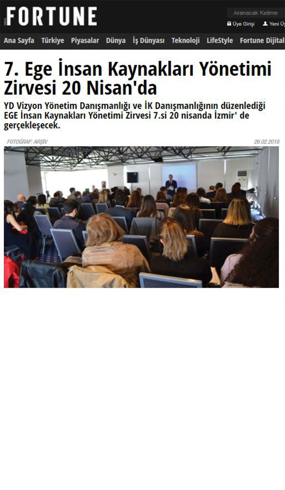 Fortune Türkiye - 7. İK Yönetimi Zirvesi - Haber
