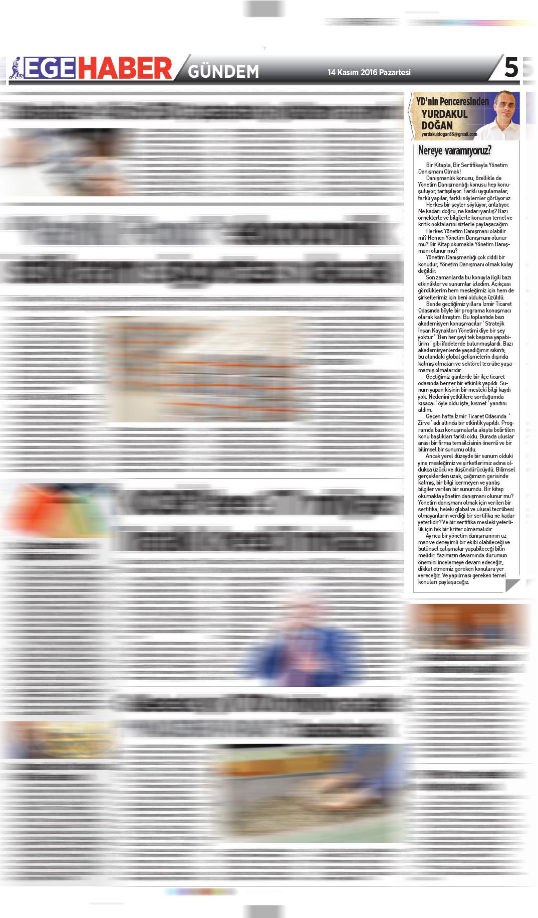 Ege Haber - Köşe Yazısı - 14.11.2016