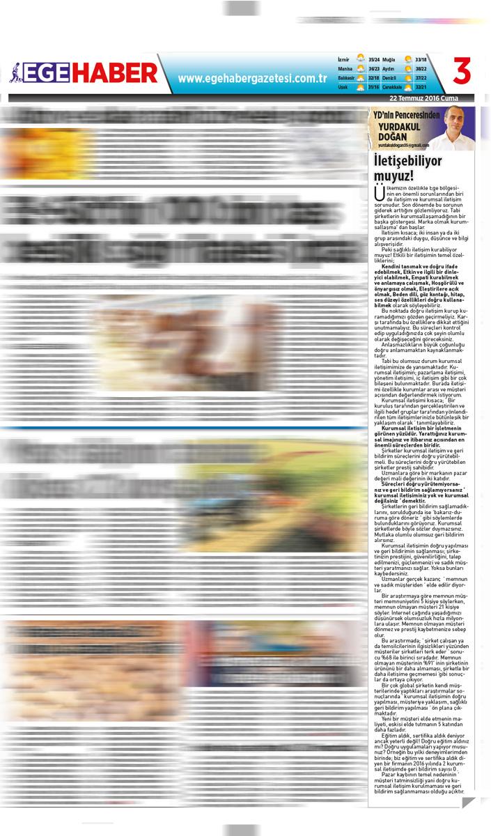 Ege Haber - Köşe Yazısı - 23.07.2016
