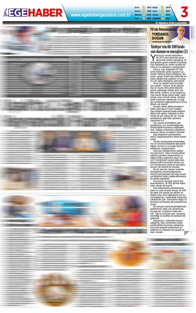 Ege Haber - Köşe Yazısı - 31.08.2016