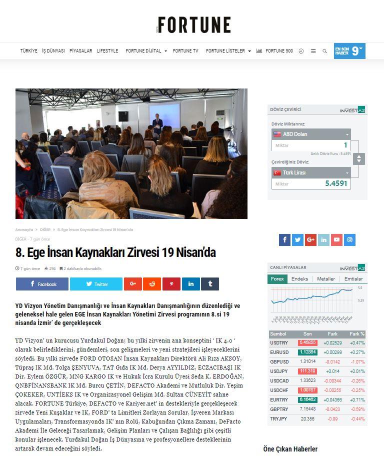 Fortune Türkiye - 8. İK Yönetim Zirvesi - Haber
