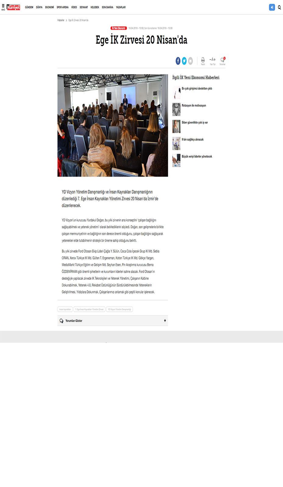 Hürriyet - 7. İK Yönetimi Zirvesi - Haber